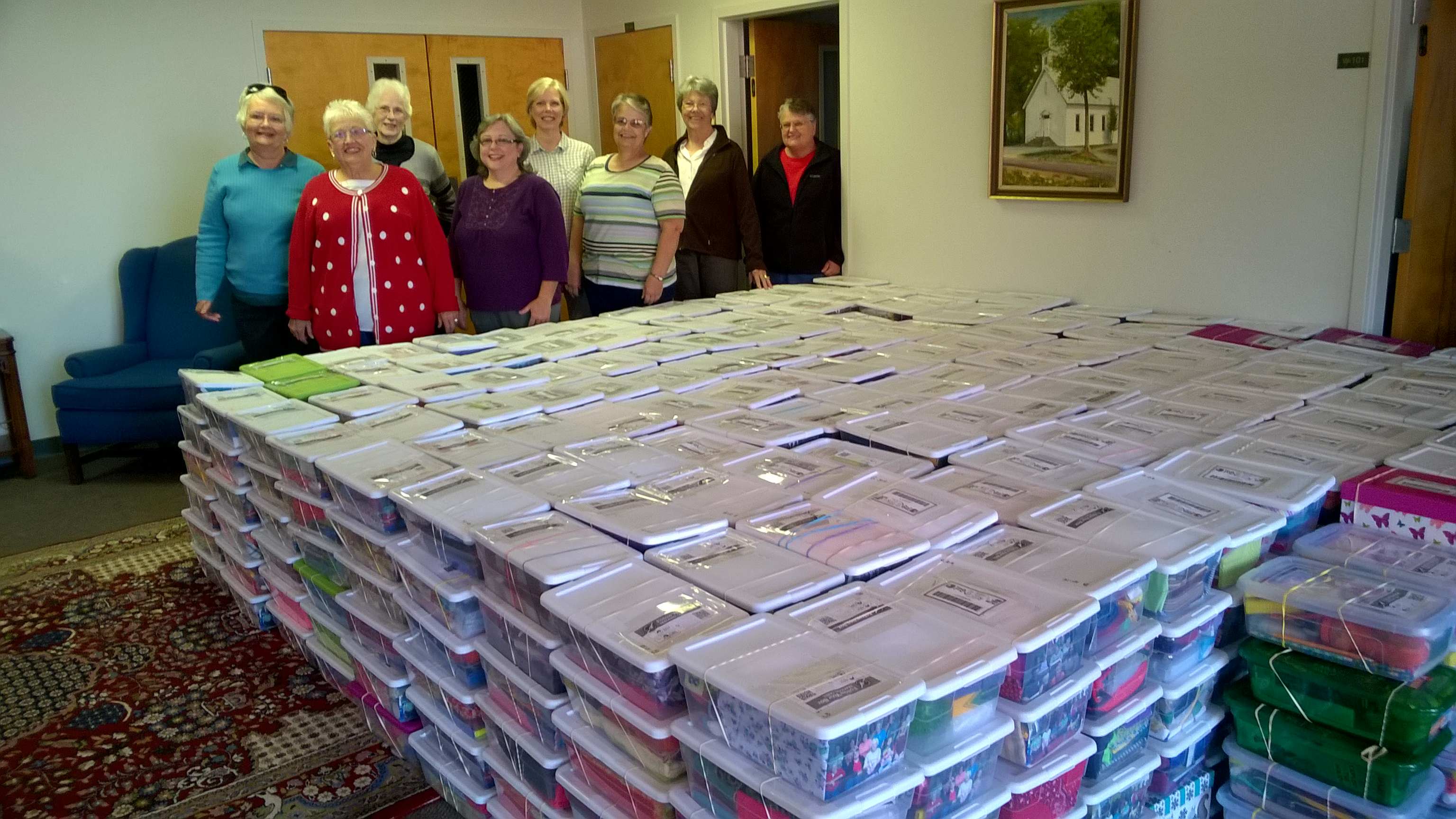 Boxes ready to go to First Baptist.jpg